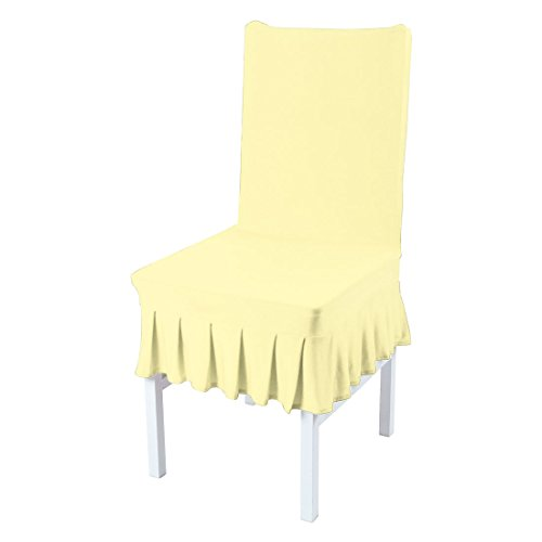uxcell Stretch Spandex Short Dining Room Chair Covers Ruffled Skirt Slipcovers Multi-Color Chair Seat Covers Light - Dining Chair Slipcover Ruffled