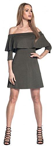 Glamour Empire. Mujer Vestido a Capas Volante Cuello Bardot Medias Mangas. 565 Caqui