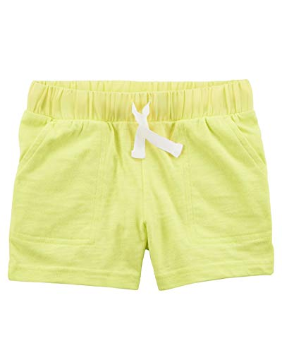 (Carter's Little Girls' Neon Easy Pull-On Slub Jersey Shorts, Yellow, 5-Toddler)