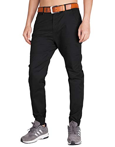 ITALY MORN Men's Chino Jogger Sweatpants Flat Front Casual Pants M Black