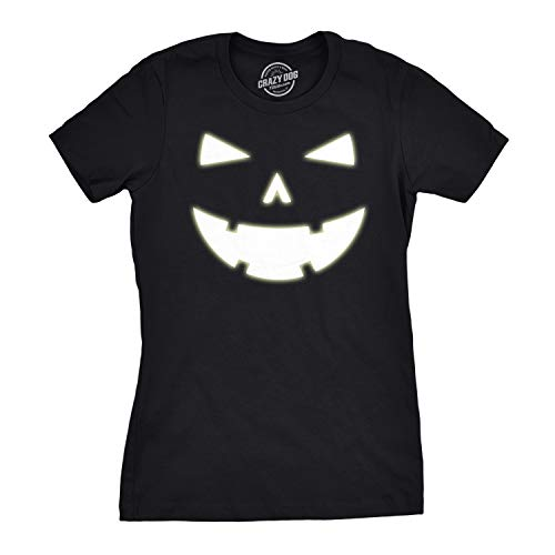 (Womens Happy Tooth Glow in The Dark Pumpkin T Shirt Face Halloween Tee for Ladies (Black))