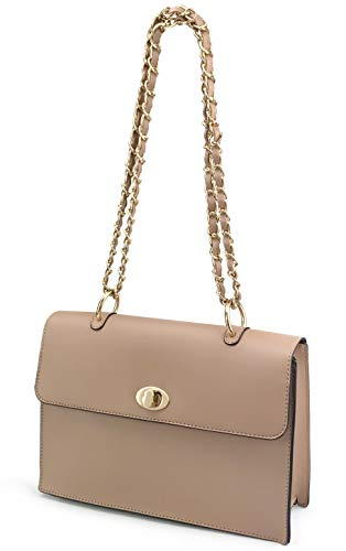 Women Chain Shoulder Handbag with Turn Lock Minimalist Flap Top Cross Body Bag Purse - Shoulder Bag Flap