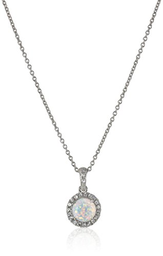 Sterling Silver Created Opal Round with Created White Sapphire Pendant Necklace, 18