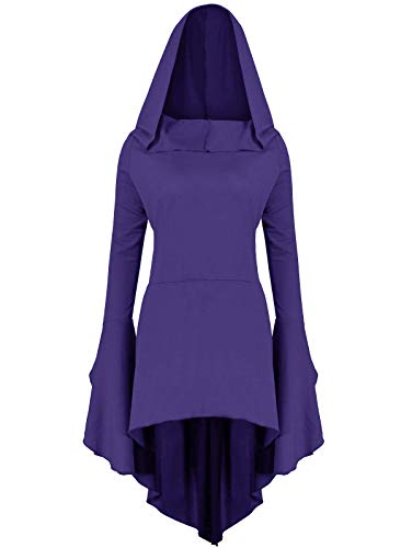 (Gemijack Womens Renaissance Costumes Hoodies Long Sleeve High Low Medieval Dress Lace Up Hooded)