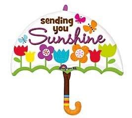 """""""Sending You Sunshine"""" Adorable 30"""" Umbrella Mylar Balloon"""