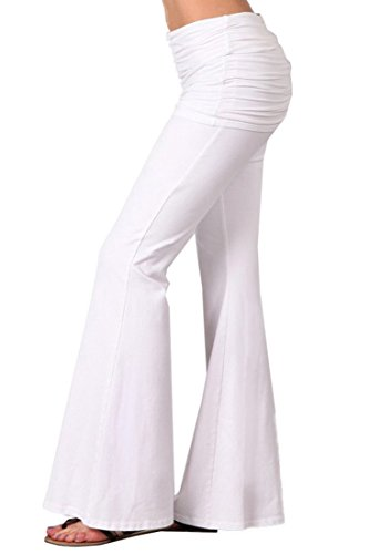Zoozie LA Women's Bell Bottom Yoga Stretch Pants Foldover White S