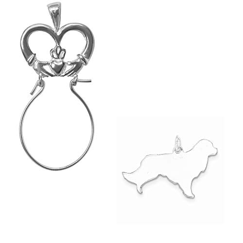 Mireval Sterling Silver Engraveable Small Golden Retriever Disc Charm on a Claddagh Charm Holder