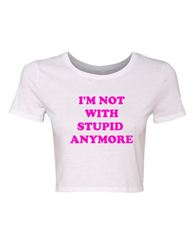 Ex Boyfriend Crop (Crop Top Ladies I'm Not With Stupid Anymore Funny T-Shirt Tee (Medium/Large, White w/)