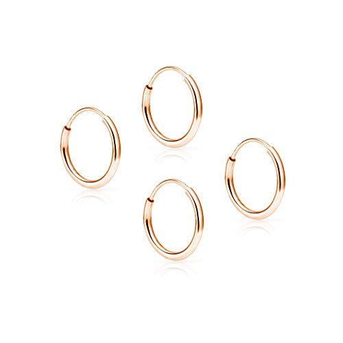 SOLIDGOLD - 14K Endless Rose Gold 10mm Infinity Hoop Sleeper Earrings 2 Pair Set