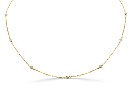 1/4ct Bezel Set Diamond By The Yard 14k Yellow Gold Station Necklace ()
