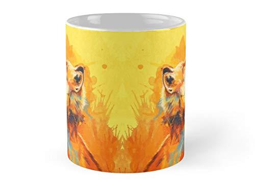 Blissful Light Fox Illustration Animal Portrait Inspirational 11oz Mug - Best gift for family friends