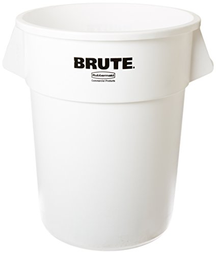 (Rubbermaid Commercial Products Brute Heavy-Duty Round Waste/Utility Container with Venting Channels, 55-Gallon, White (FG265500WHT))