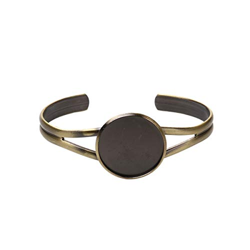 - 3 Count Antique Bronze Tone Open Cuff Bangle Bracelet Blank with 25mm Bezel Cabochon Setting