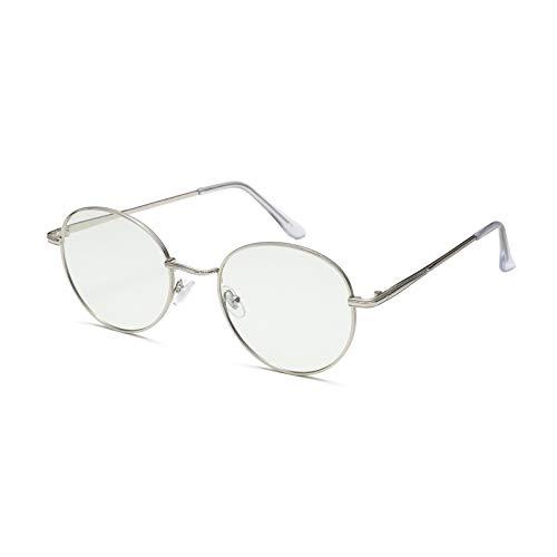 SKYWAY Multifunction Blue Light Glasses for Women Men UV400 Photochromic Lens Circle Sunglasses Anti Eye Strain Glare Reflective Bluelight Blocking Glasses (round+silver)