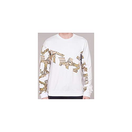 (Versace Jeans Cotton Round Neck White/Gold Sweatshirt XL White)