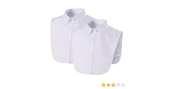 2 Piezas Falsa Media Camisa Blusa Cuello Desmontable Falsa Blusa Cuello