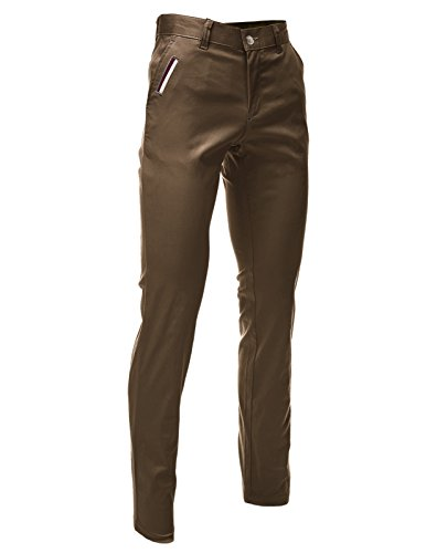 FLATSEVEN Mens Slim Fit Chino Pants Trouser Premium Cotton Blend (CH198) Brown, Size L