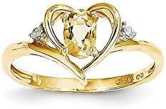 14K Diamond & Citrine Ring / Ctw. 0.01, Gem Ctw. 0.45