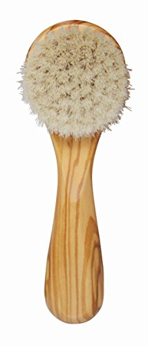 Olive Brush (Lilywoods Exfoliating Face Brush Cleanser w/ Super Soft Goats Bristles in Olive)