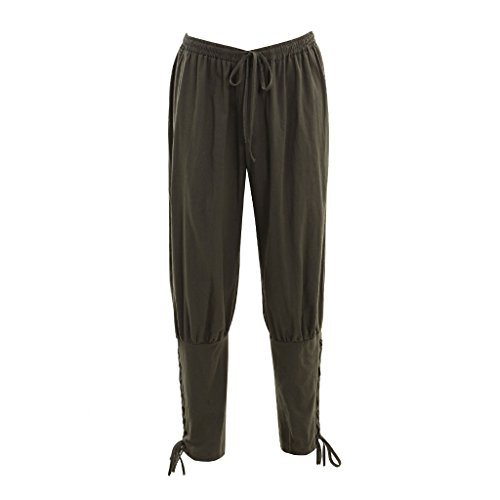 DUNHAO COS Men's Medieval Pants Viking Trousers Costume Army Green L]()
