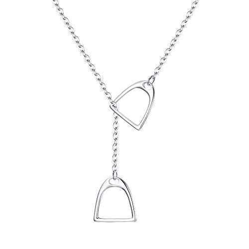 30bee7d29df41f FANZE Women's 925 Sterling Silver Double Horse Strirrup Lariat Necklace Y  Style Pendant Necklace Gift For your friends With Chain 18