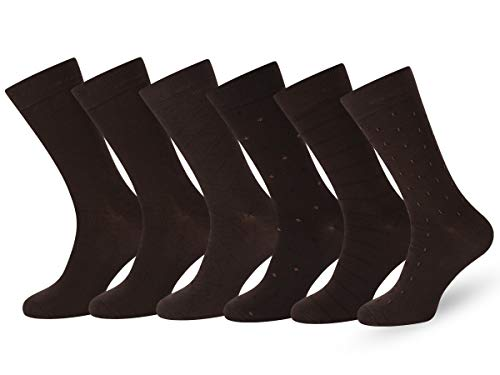 Easton Marlowe Men's Classic Subtle Pattern Dress Socks - 6pk #4-10, Dark Brown Chestnut - 39-42 EU shoe size