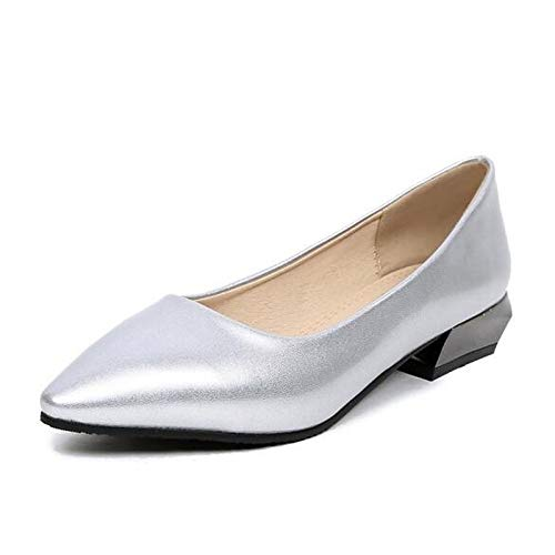 QOIQNLSN Comfort Leather Spring Women'S Silver Black Patent Heel Shoes Heels Silver Chunky Gold wXSqwr6