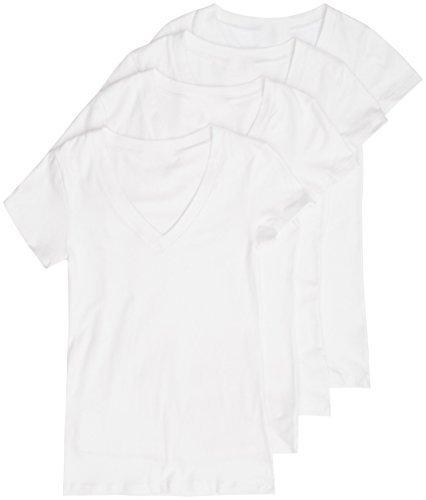 4 Pack Zenana Womens Basic V-Neck T-Shirts (X-Large)