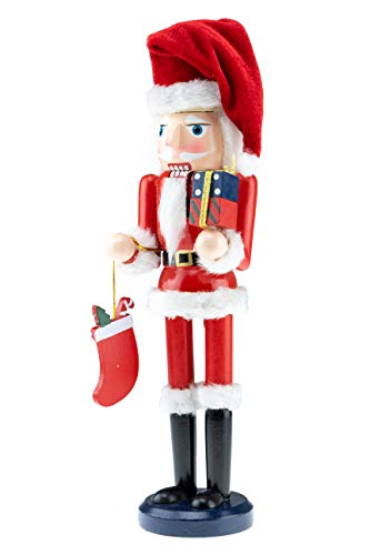 Clever Creations Wooden Santa Traditional Christmas Nutcracker | Red and White Outfit and Holding Presents and Stocking | 12