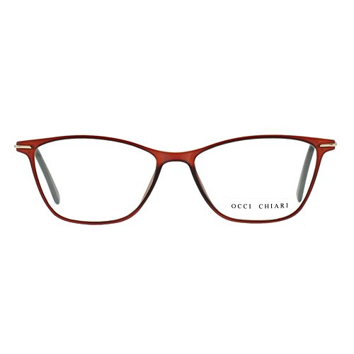 Eyewear Frames-OCCI CHIARI-Rectangular Eyeglasses Frame with Clear Lenses (Red, - Eyeglass Rectangular Frames