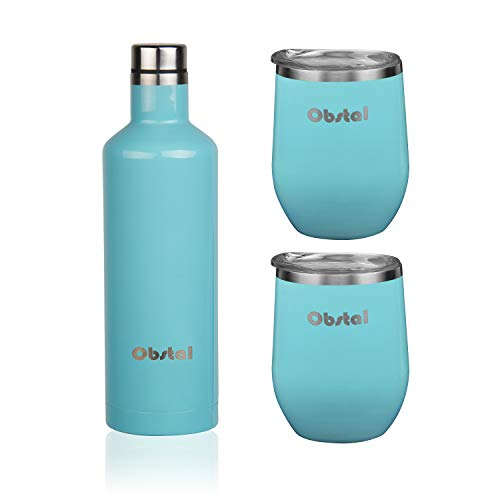 Obstal Insulated Wine Growler & 2 Wine Tumblers Set - Stainless Steel Double Wall Vacuum Wine Canteen Bottle for Gift, 18 oz, Aqua Blue