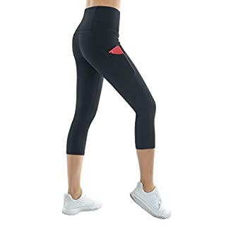 THE GYM PEOPLE Thick High Waist Yoga Capris with Pockets, Tummy Control Workout Running Yoga Leggings for Women (Medium, Z- Capris Black)
