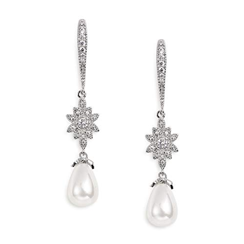 SWEETV Pearl Drop Earrings for Wedding Bridal -Teardrop Cubic Zirconia Dangle Earrings for Women,Bridesmaids,Brides by SWEETV