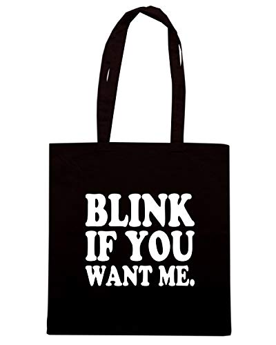 Speed Shirt Borsa Shopper Nera OLDENG00418 BLINK IF YOU WANT ME LIGHT