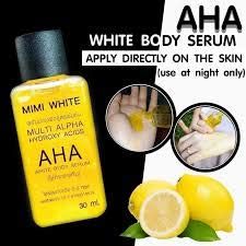 (Net.30ml. X 3 Unit- AHA MIMI Serum White Body Skin Lightening-Bleaching-Dark-Speed-White White Remove Dead Skin Cells OHO Clear Dark whiteing,Rough Skin Bikini,whitening with Collagen)
