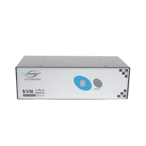 Linkskey 4-Port Dual DVI Monitor PS2 KVM Switch with Cables (LDV-DM04ESK)
