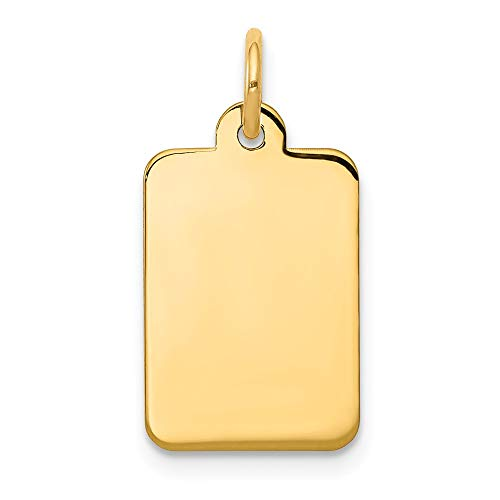 Number Charm 14kt Gold Jewelry - 14k Yellow Gold .011 Gauge Rectangular Engravable Disc Pendant Charm Necklace Square Rectangle Fine Jewelry Gifts For Women For Her