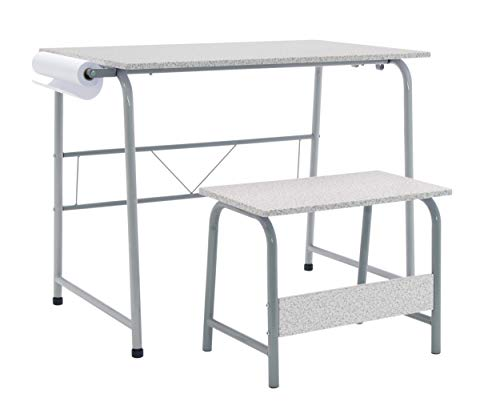 SD Studio Designs Project Center, Craft Table Play Desk with Bench in Spatter Gray, 55128