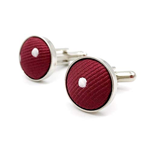 (SHLAX&WING Red Dots Maroon Wedding Matching Cufflinks)
