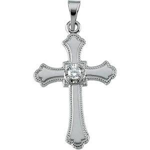 Pendentif Croix Or Blanc 14Carats Avec Diamant brut 21x 15mm