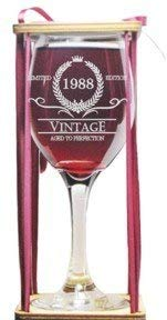 31st Birthday Vintage 1988 Stemmed Wine Glass with Charm and Presentation Packaging
