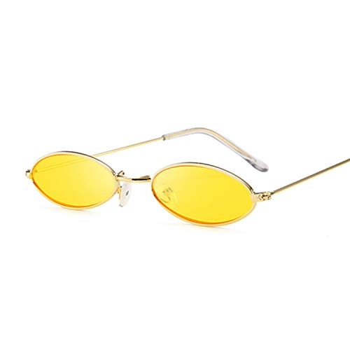 Gflotusas Black Round Sunglasses for Women Men Small Oval Alloy Frame Summer Style Unisex Sun Glasses Female Male Goggle GoldYellow