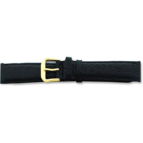 De Beer Black Alligator Grain Leather Watch Band 8mm Gold Color