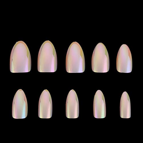 Chrome Nails Stiletto Fake Nail Tips 12Pcs/Box Metallic False Nail Art Manicure Press On Nails Mirror Look 07