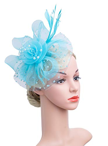 Cizoe Flower Cocktail Tea Party Headwear Feather Fascinators Top Hat for Girls and Women(1-light (Feather Light Womens Hat)