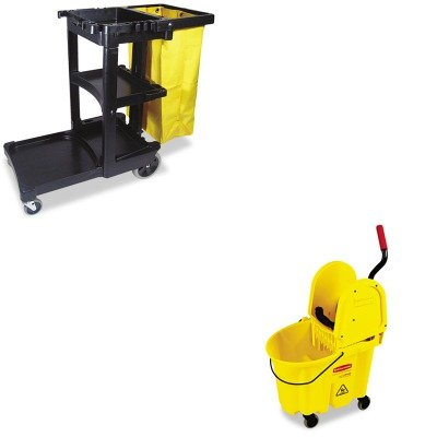 KITRCP617388BKRCP757788YW - Value Kit - Rubbermaid-Wavebrake Down Press Combo,Yellow (RCP757788YW) and Rubbermaid Cleaning Cart with Zippered Yellow Vinyl Bag, Black (RCP617388BK)