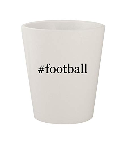 #football - Ceramic White Hashtag 1.5oz Shot Glass