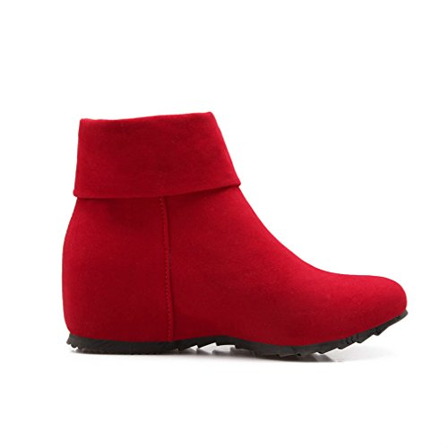 Hidden Casual Heel Autumn Plus Boots Boots Size Red Zipper Ankle Womans MFairy EqB5S7