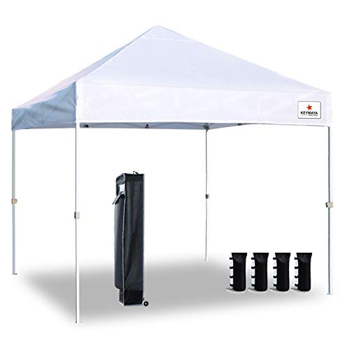 Keymaya Ez Commercial Instant Tent Heavy Duty Pop-up Canopy Shelter Bonus Weight Bag 4-pc Pack (10x10, 1A# White) (Commercial Canopy Tent)