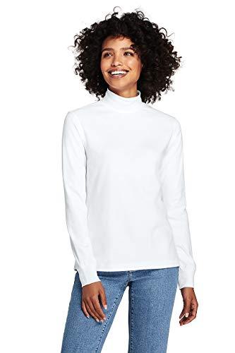 Lands' End Women's Petite Relaxed Cotton Mock Turtleneck White